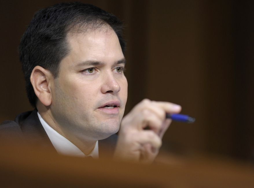 Sen. Marco Rubio, Florida Republican and member of the Senate Intelligence Committee, questions of a witness during the committee's hearing on worldwide threats on March 12, 2013, on Capitol Hill in Washington. (Associated Press)