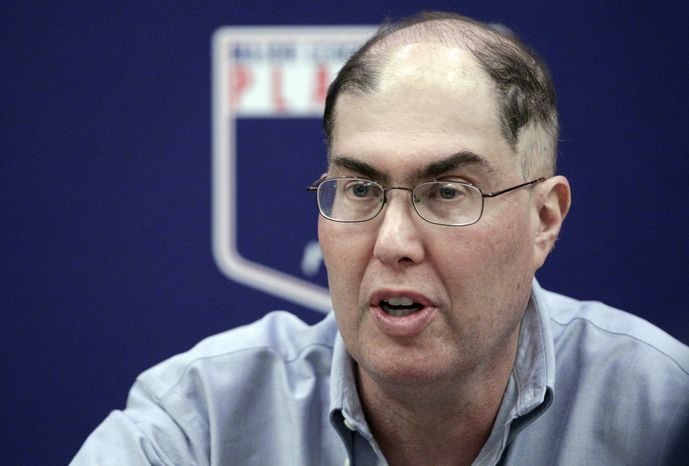 **FILE** In this Nov. 28, 2012 file photo, baseball union head Michael Weiner speaks during a news conference in New York. Weiner says, Monday Feb. 25, 2013, there's active discussion about increasing the penalties for violating baseball's drug testing program. Weiner says players have very little patience for seeing their peers try to cheat the system. (AP Photo/Frank Franklin II, File)
