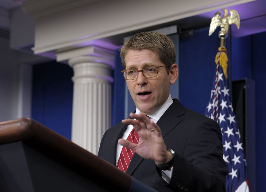 White House spokesman Jay Carney speaks during the daily briefing at the White House in Washington on March 14, 2013. (Associated Press)