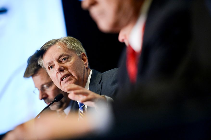 Sen. Lindsey Graham (R-S.C.) speaks on a panel at this year's Conservative Political Action Conference (C.P.A.C.) held at the Gaylord National Hotel, National Harbor, Md., Thursday, March 14, 2013. (Andrew Harnik/The Washington Times)