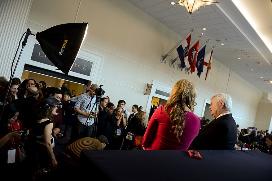 Former Speaker of the House Newt Gingrich is interviewed by the Tea Party News Network in the hallway outside this year's Conservative Political Action Conference (C.P.A.C.) held at the Gaylord National Hotel, National Harbor, Md., Thursday, March 14, 2013. (Andrew Harnik/The Washington Times)