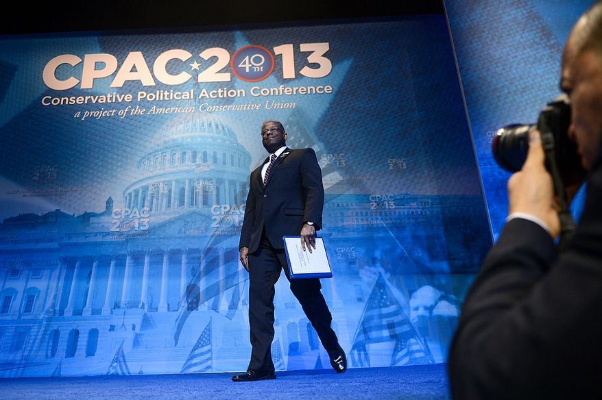 Former Rep. Allen West takes the stage at this year's Conservative Political Action Conference (C.P.A.C.) held at the Gaylord National Hotel, National Harbor, Md., Thursday, March 14, 2013. (Andrew Harnik/The Washington Times)