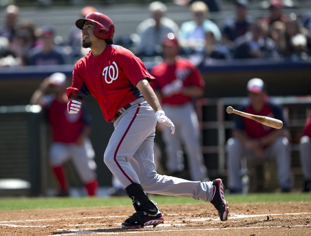 Washington Nationals Anthony Rendon bats during the first inning of an exhibition spring training baseball game against the Houston Astros on Wednesday, March 13, 2013, in Kissimmee, Fla. (AP Photo/Evan Vucci)