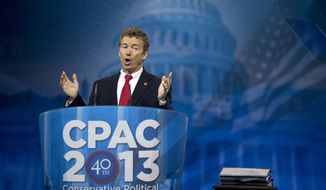 Sen. Rand Paul, Kentucky Republican, speaks at the 40th annual Conservative Political Action Conference in National Harbor, Md., on March 14, 2013. (Associated Press