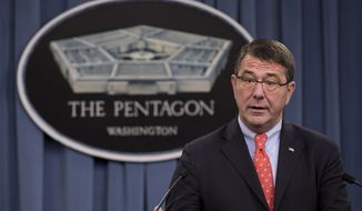 **FILE** Deputy Defense Secretary Ashton Carter speaks March 1, 2013, during a news conference regarding the automatic spending cuts at the Pentagon. (Associated Press)