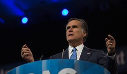 Former Massachusetts Gov. and 2012 Republican presidential candidate Mitt Romney speaks at the 40th annual Conservative Political Action Conference in National Harbor, Md. on March 15, 2013. (Andrew S. Geraci/The Washington Times)