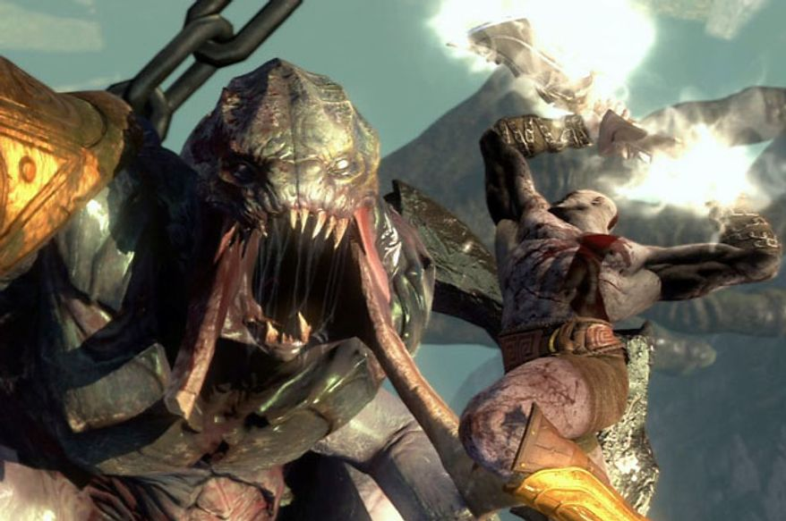 Kratos attacks in the video game God of War: Ascension.