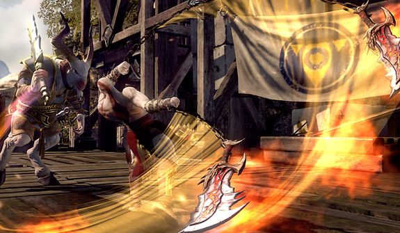 Kratos unleashes his Blades of Chaos in the video game God of War: Ascension.
