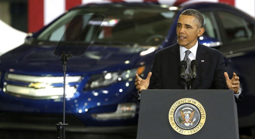 President Obama speaks at Argonne National Laboratory in Argonne, Ill., on March 15, 2013. The president urged congress to authorize $200 million a year for research into clean energy technologies that can wean automobiles off oil. (Associated Press)