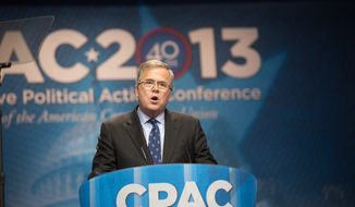 Jeb Bush (R), former Governor of Florida, speaks during a dinner engagement at the Conservative Political Action Conference (C.P.A.C.) held at the Gaylord National Hotel, National Harbor, Md., Friday, March 15, 2013. (Andrew S. Geraci/The Washington Times)