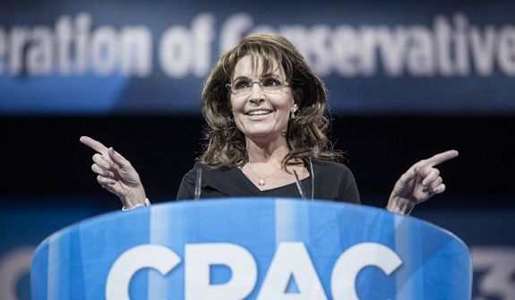 Former Alaska governor Sarah Palin speaks during the final day of the 2013 Conservative Political Action Conference in Fort Washington, Md. on March 16, 2013. (T.J. Kirkpatrick/Special to The Washington Times)
