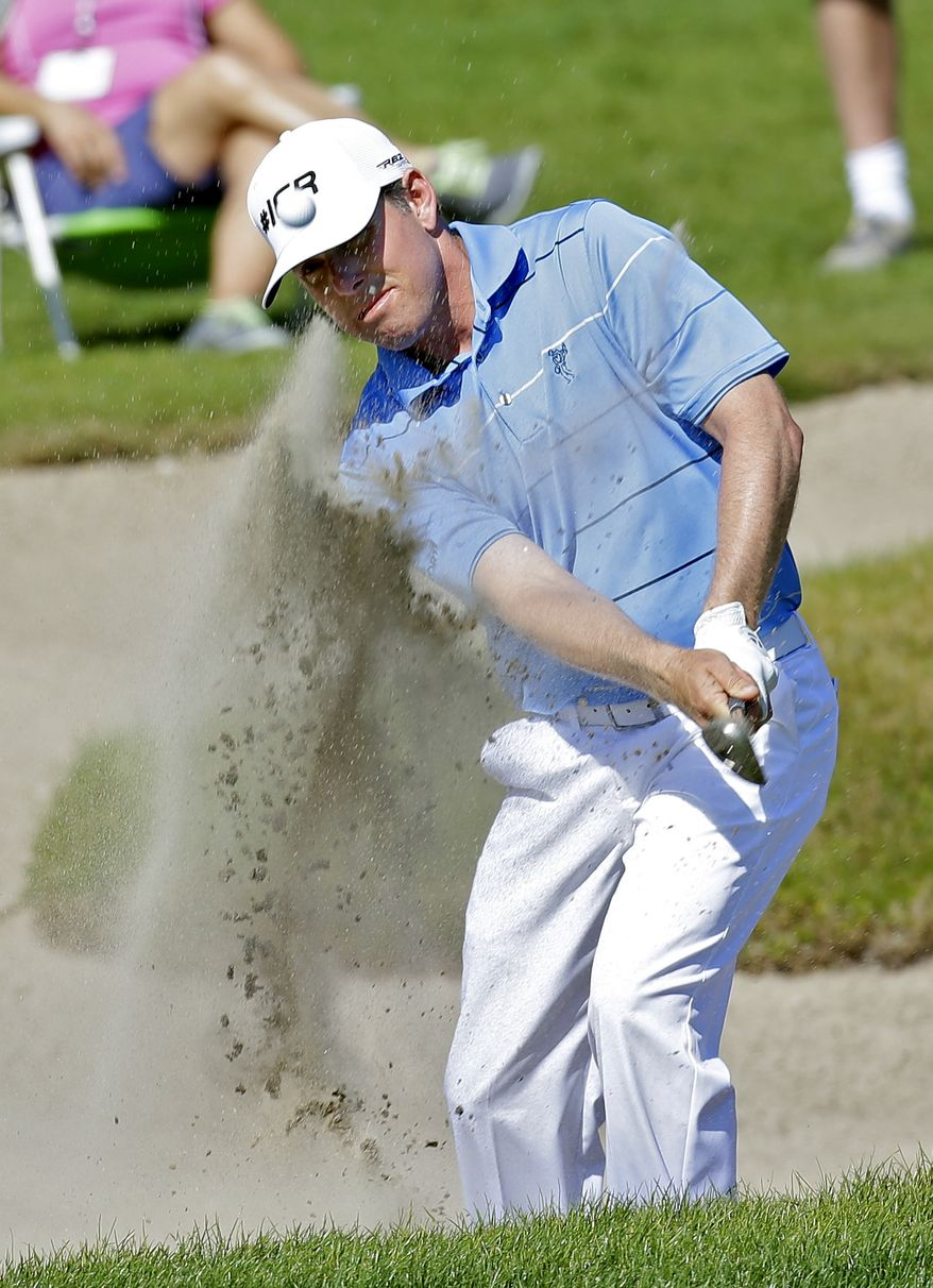 Justin Leonard hits from the sand trap on the 15th hole during the third round of the Tampa Bay Championship golf tournament Saturday, March 16, 2013, in Palm Harbor, Fla. (AP Photo/Chris O'Meara)