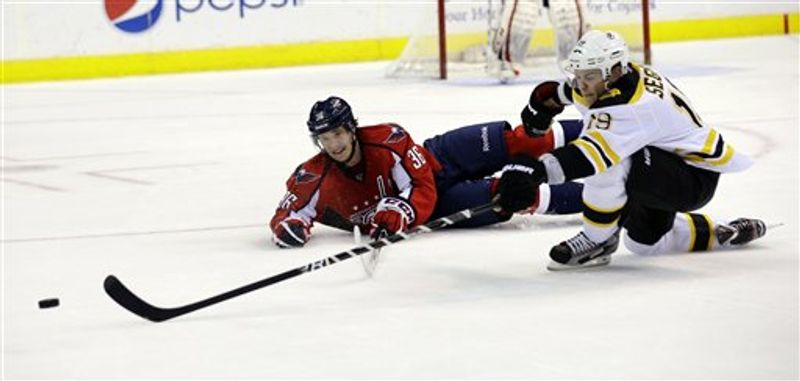 Washington Capitals defenseman Tomas Kundratek (36), of the Czech Republic, goes for the puck with Boston Bruins center Tyler Seguin (19) in the third period of an NHL hockey game, Tuesday, March 5, 2013, in Washington. The Capitals won 4-3 in overtime. (AP Photo/Alex Brandon)