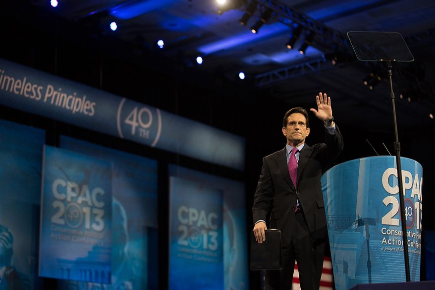 Rep. Eric Cantor, House Majority Leader (R), speaks at this year's Conservative Political Action Conference (C.P.A.C.) held at the Gaylord National Hotel, National Harbor, Md., Friday, March 15, 2013.(Andrew S. Geraci/The Washington Times)
