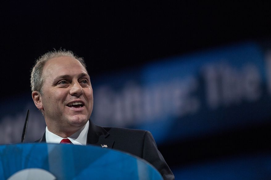 ** FILE ** Rep. Steve Scalise, Louisiana Republican and chairman of the conservative Republican Study Committee, speaks at the Conservative Political Action Conference (CPAC) held at the Gaylord National Hotel, National Harbor, Md., on Friday, March 15, 2013. (Andrew S. Geraci/The Washington Times)