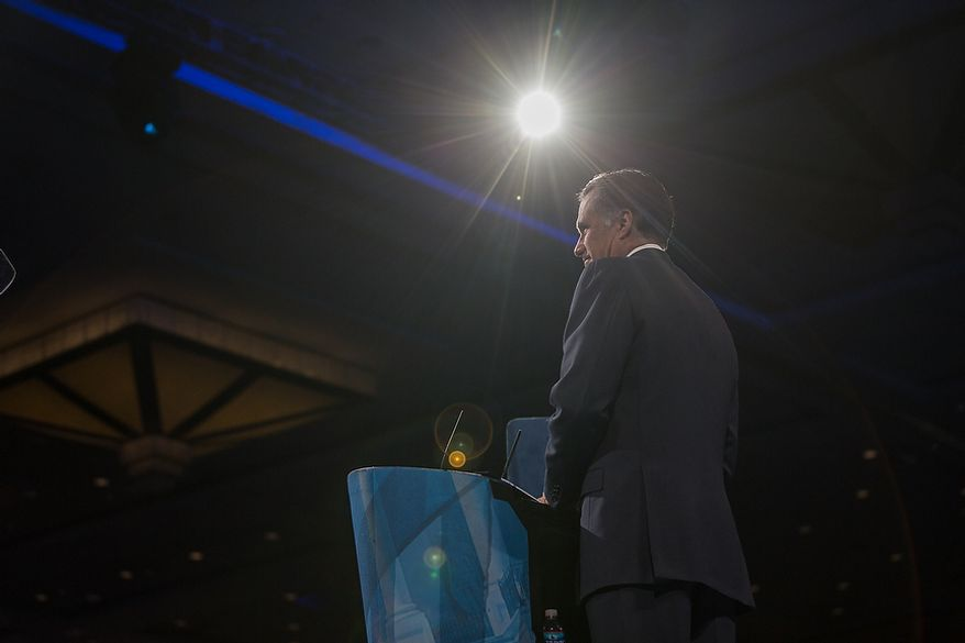 Mitt Romney (R) speaks at this year's Conservative Political Action Conference (C.P.A.C.) held at the Gaylord National Hotel, National Harbor, Md., Friday, March 15, 2013.(Andrew S. Geraci/The Washington Times)