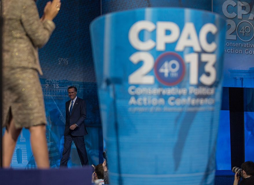 Mitt Romney (R) takes the stage to speak at this year's Conservative Political Action Conference (C.P.A.C.) held at the Gaylord National Hotel, National Harbor, Md., Friday, March 15, 2013.(Andrew S. Geraci/The Washington Times)