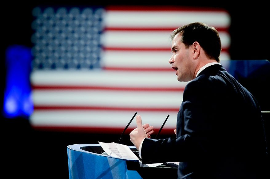 Sen. Marco Rubio (R-Fla.) speaks at this year's Conservative Political Action Conference (C.P.A.C.) held at the Gaylord National Hotel, National Harbor, Md., Thursday, March 14, 2013. (Andrew Harnik/The Washington Times)