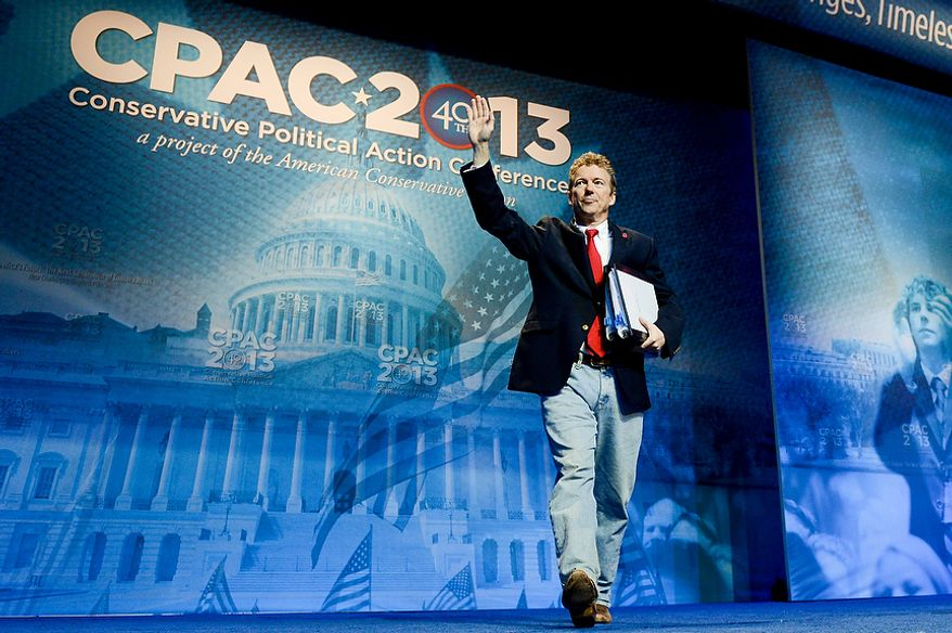 Sen. Rand Paul (R-K.Y.) takes the stage to  speak at this year's Conservative Political Action Conference (C.P.A.C.) held at the Gaylord National Hotel, National Harbor, Md., Thursday, March 14, 2013. (Andrew Harnik/The Washington Times)