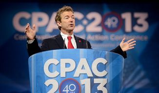 Sen. Rand Paul (R-K.Y.) speaks at this year's Conservative Political Action Conference (C.P.A.C.) held at the Gaylord National Hotel, National Harbor, Md., Thursday, March 14, 2013. (Andrew Harnik/The Washington Times)
