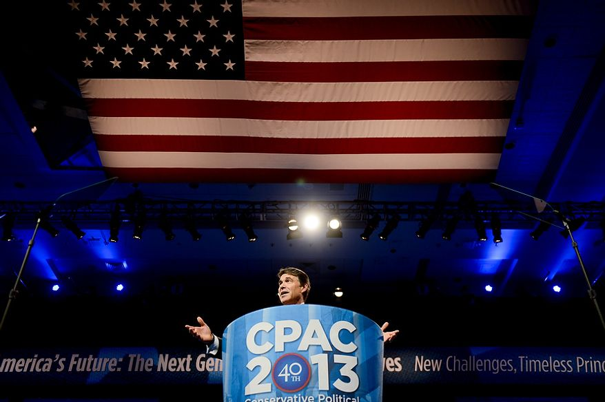 Texas Governor Rick Perry (R) speaks at this year's Conservative Political Action Conference (C.P.A.C.) held at the Gaylord National Hotel, National Harbor, Md., Thursday, March 14, 2013. (Andrew Harnik/The Washington Times)