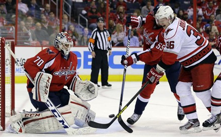 Carolina Hurricanes left wing Jussi Jokinen (36), from Finland, tries to shoot as he is defended by Washington Capitals defenseman Jeff Schultz (55) and goalie Braden Holtby (70) in the third period of an NHL hockey game Tuesday, March 12, 2013 in Washington. The Hurricanes won 4-0. (AP Photo/Alex Brandon)