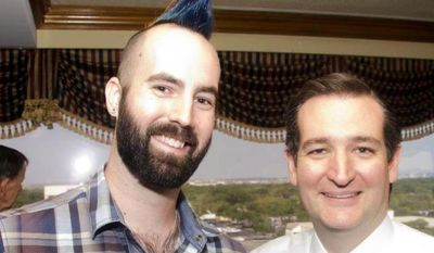 """Ian """"Rooster"""" Jacobson (left), a student at the University of Texas whose multicolored mohawk attracted much attention at the Conservative Political Action Conference over the weekend, stands with Sen. Ted Cruz, Texas Republican, at a recent campaign event. (Photo courtesy of Ian Jacobson)"""