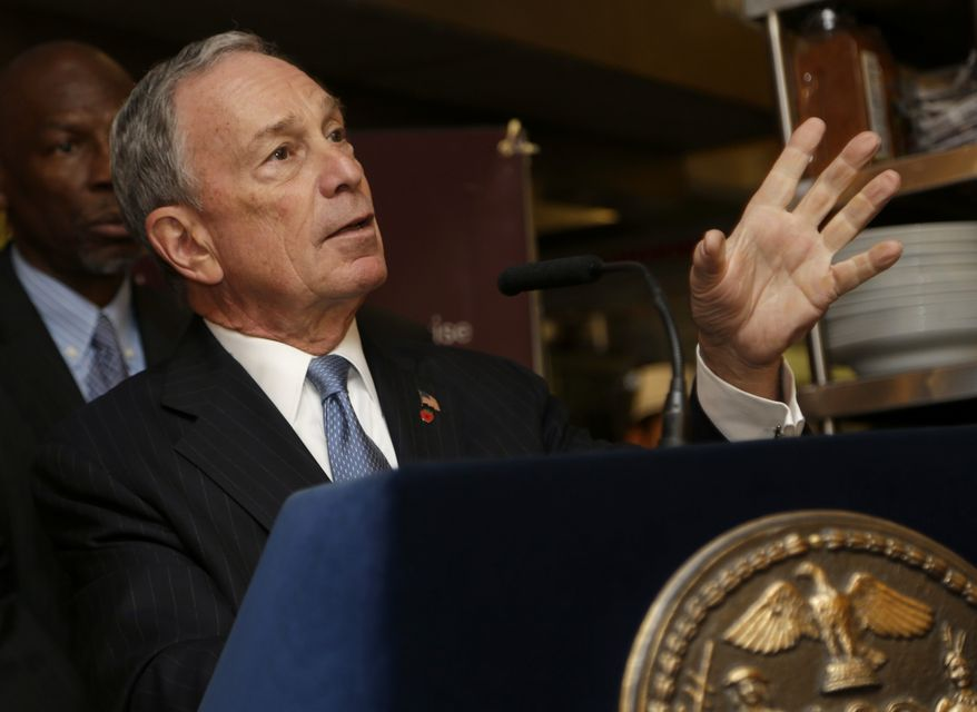 ** FILE ** New York City Mayor Michael Bloomberg speaks during a news conference at Lucky's Cafe in New York, Tuesday, March 12, 2013. (AP Photo/Seth Wenig)