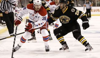 Washington Capitals' Jack Hillen (38) looks for an opening during the third period of a NHL hockey game against the Boston Bruins in Boston Saturday, March 16, 2013. (AP Photo/Winslow Townson)