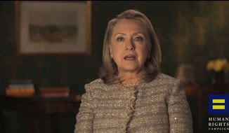 Former Secretary of State Hillary Rodham Clinton, pictured in a video frame grab provided by the Human Rights Campaign, announces her support for gay marriage, putting her in line with other potential Democratic presidential candidates on a social issue that rapidly is gaining public approval. (AP Photo/Human Rights Campaign)