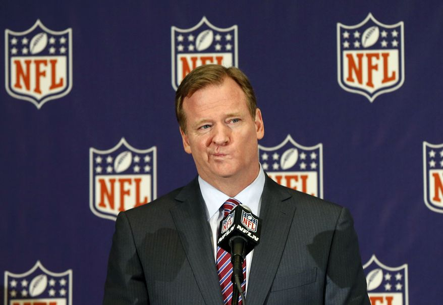 NFL football commissioner Roger Goodell takes questions during a news conference at the Arizona Biltmore, Monday, March 18, 2013, in Phoenix. (AP Photo/Matt York)