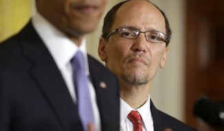 President Obama announces Thomas E. Perez, his nominee for Labor Secretary, on March 18, 2013, in the East Room of the White House in Washington. (Associated Press)