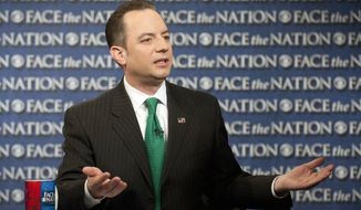 "In this Sunday, March 17, 2013, photo provided by CBS News, Republican National Committee Chairman Reince Priebus speaks on CBS's ""Face the Nation"" in Washington. Priebus says the party will spend $10 million this year to send hundreds of paid staffers into communities to talk with Hispanic, black and Asian voters. (AP Photo/CBS News, Chris Usher)"