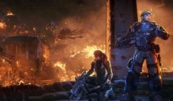 Halvo Bay is destroyed in the video game Gears of War: Judgment.