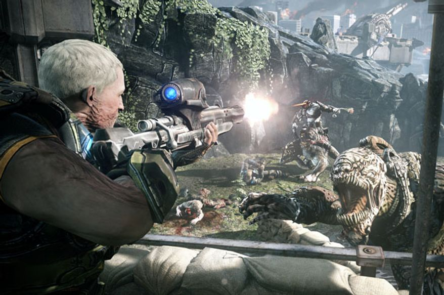 Garron Paduk uses a sniper rifle in the video game Gears of War: Judgment.