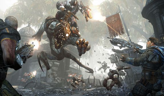 A Bloodmount and rider attack in the video game Gears of War: Judgment.