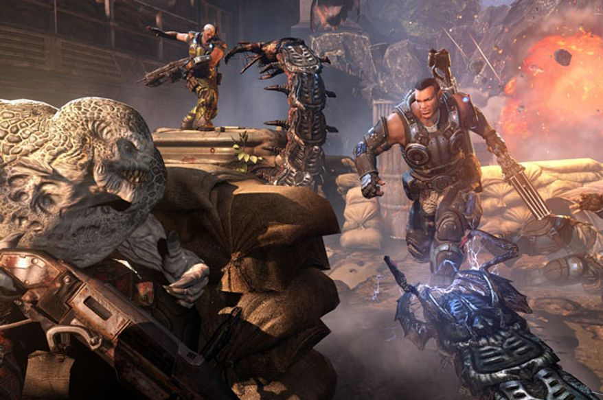 COG soldiers fight off an attack by serapedes in the video game Gears of War: Judgment.