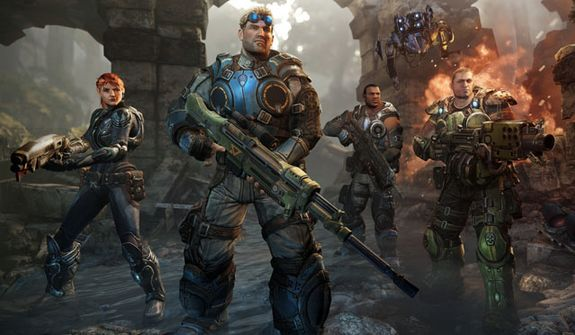 Sophia Hendrick, Lt. Damon Baird, Augustus Cole and Garron Paduk star in the video game Gears of War: Judgment.