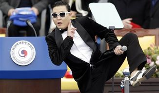 "South Korean rapper PSY performing last month before presidential inauguration ceremony at the National Assembly in Seoul, South Korea. PSY said Monday on a Twitter-like South Korean website that he will change the title of his potential ""Gangnam Style"" follow-up over worries it could offend Arabs. (AP Photo/Lee Jin-man, File)"