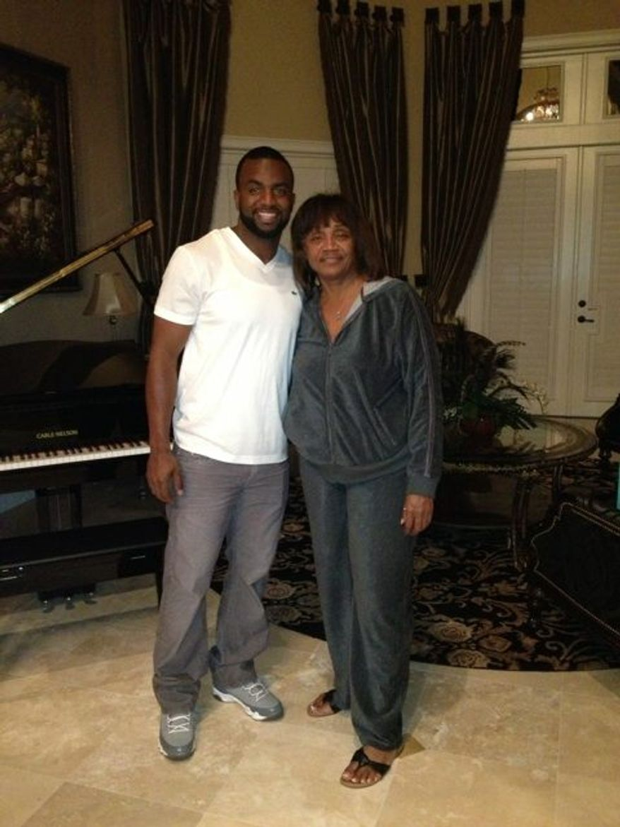 Denard Span and his mother, Wanda Wilson, in a picture the Nationals outfielder posted to his Twitter account around Christmas.