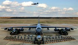 A B-52 bomber is captured before joint training exercises between the U.S. and South Korea, March 2013. (U.S. Embassy, Seoul)