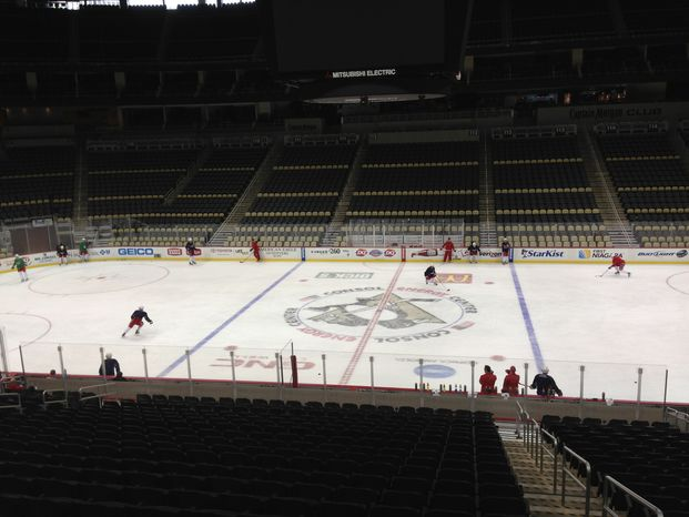 The Capitals practiced Wednesday at Consol Energy Center before flying to Winnipeg. (Stephen Whyno/The Washington Times)