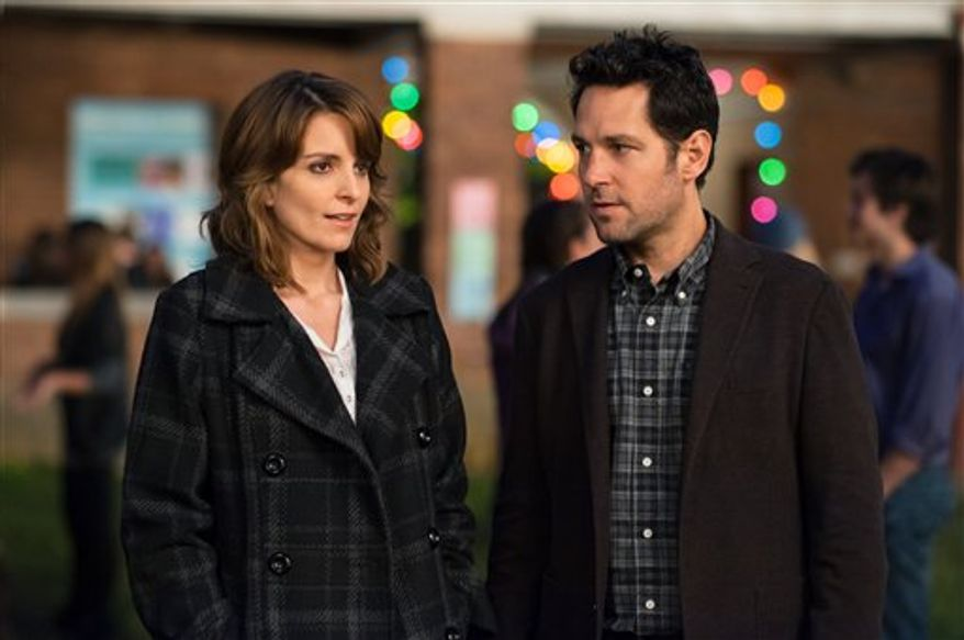 "This film image released by Focus Features shows Tina Fey, left, and Paul Rudd in a scene from ""Admission."" (AP Photo/Focus Features, David Lee)"