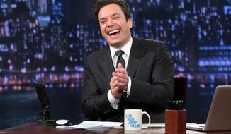 "Jimmy Fallon hosts ""Late Night With Jimmy Fallon"" from New York on Thursday, Feb. 21, 2013. (AP Photo/NBC, Lloyd Bishop)"