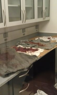 """Blood-soaked clothing seized as evidence from crime scenes dries in an unsealed environment because clogged filters prevent ventilation in blood-drying cabinets. Clogged filters cause ventilation system alarms to go off """"24/7,"""" according to internal emails."""