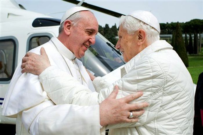 ** FILE ** Pope Francis (left) meets Pope Emeritus Benedict XVI at Castel Gandolfo, the Vatican's summer residence, on Saturday, March 23, 2013. The new pontiff had lunch with his predecessor in a historic and potentially problematic