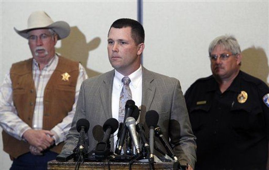 Wise County Sheriff David Walker answers questions during a news conference to discuss the suspect who was killed in Decatur, TexasThursday, after injuring a Montague County Sheriff's Deputy, Friday, March 22, 2013. Evan Spencer Ebel, 28, a former Colorado inmate and white supremacist died after a high-speed chase and shootout with Texas deputies. Now investigators are trying to piece together whether he killed the chief of Colorado prisons, Tom Clements, and a pizza delivery man, where he was headed when Texas police stopped him. (AP Photo/The Fort Worth Star-Telegram, Rodger Mallison)