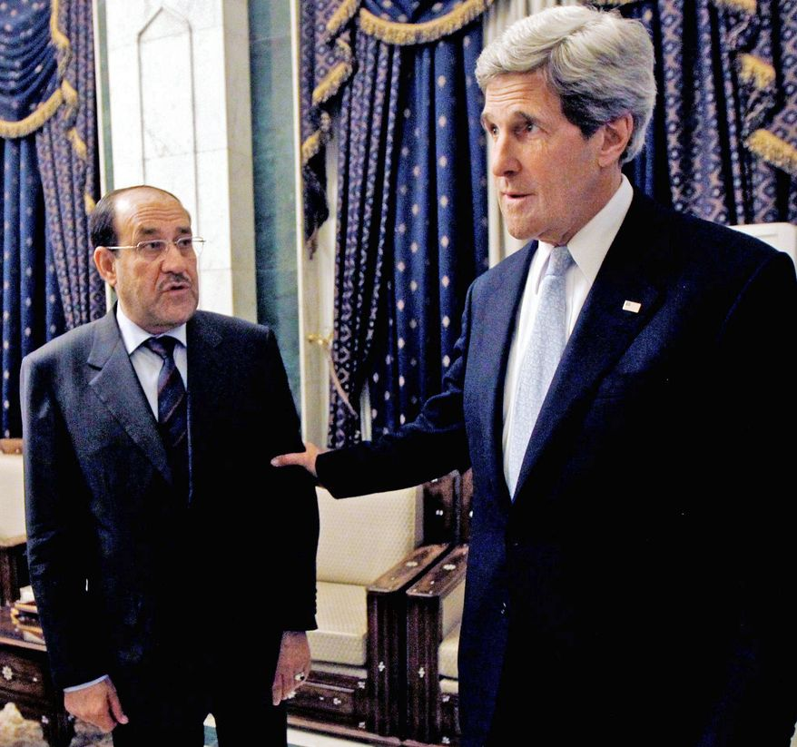 Secretary of State John F. Kerry urged Iraq Prime Minister Nouri al-Maliki on Sunday to step up efforts to ensure Iranian flights over Iraq do not carry military aid to Syria. Only two planes reportedly have been inspected since July. (Associated Press)
