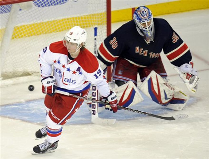 Washington Capitals' Nicklas Backstrom, left, of Sweden, skates away after scoring against New York Rangers goaltender Henrik Lundqvist, of Sweden, do win their NHL hockey game Sunday, March 24, 2013, at Madison Square Garden in New York. The Capitals won, 3-2, in a shootout on Backstrom's goal. (AP Photo/Bill Kostroun)