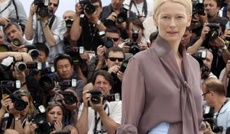 """Scottish actress Tilda Swinton poses during a photo call for """"Moonrise Kingdom"""" at the Cannes Film Festival in southern France in 2012. (AP Photo/Joel Ryan)"""